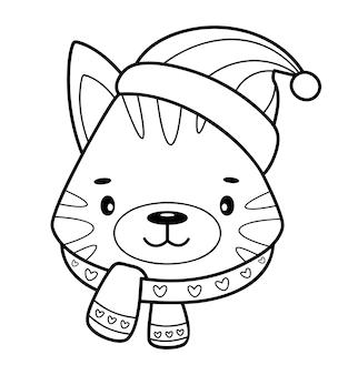 Kerst kleurboek of pagina. kerst dier zwart-wit vectorillustratie