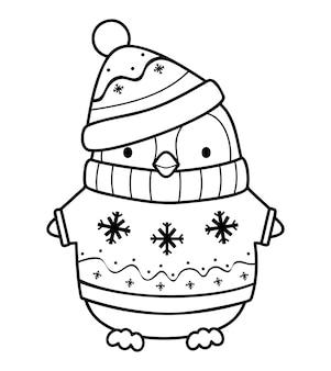 Kerst kleurboek of pagina. kerst pinguïn zwart-wit vectorillustratie