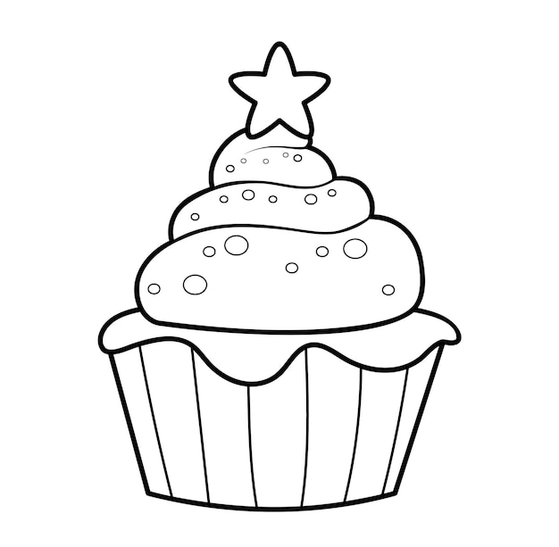 Kerst kleurboek of pagina. kerst taart zwart-wit vectorillustratie