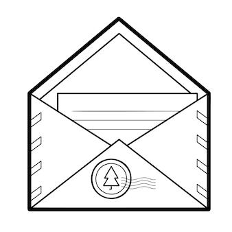Kerst kleurboek of pagina voor kinderen. envelop zwart-wit vectorillustratie