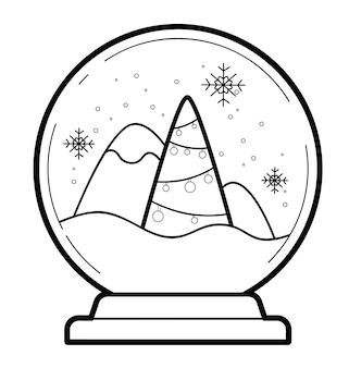 Kerst kleurboek of pagina voor kinderen. kerstbal zwart-wit vectorillustratie