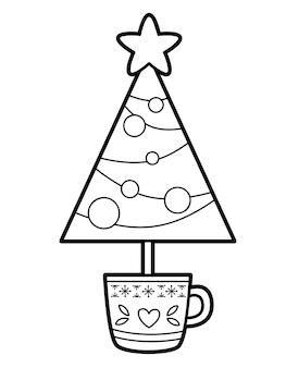 Kerst kleurboek of pagina voor kinderen. kerstboom zwart-wit vectorillustratie