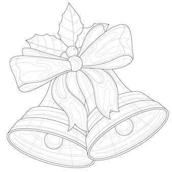 Kerst klokken. holly berry decor. kleurboek anti-stressprogramma voor kinderen en volwassenen. zen-wirwar stijl. zwart-wit tekening