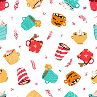 Kerst koffiekopje patroon