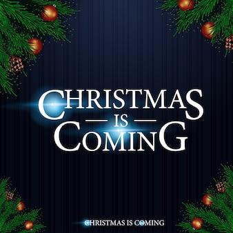 Kerst komt eraan. kerst achtergrond met logo