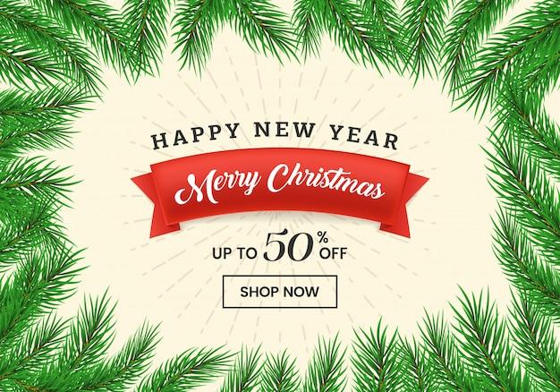Kerst korting verkoop banner
