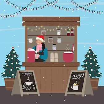 Kerst kraampjes. vrouw die koffie en glühwein verkoopt bij de kiosk. vectorillustratie.