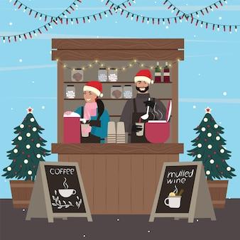Kerst kraampjes. vrouw en man die koffie en glühwein verkopen bij de kiosk. vectorillustratie.