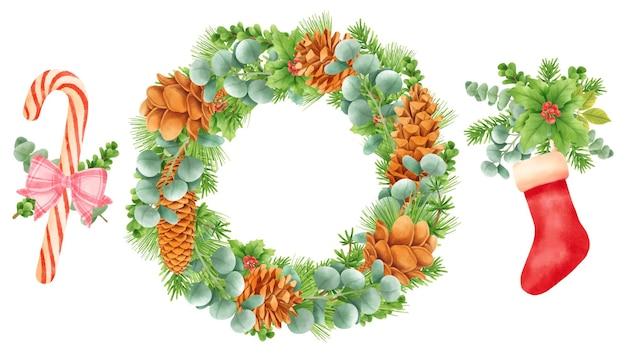 Kerst krans decoratie elementen illustraties aquarel stijlen