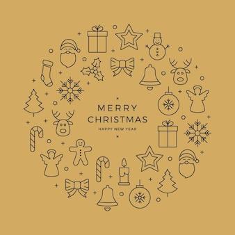 Kerst krans pictogrammen elementen cirkel gouden achtergrond