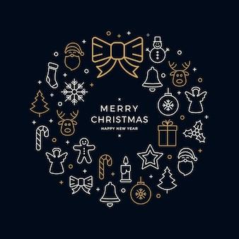 Kerst krans pictogrammen elementen cirkel gouden blauwe achtergrond