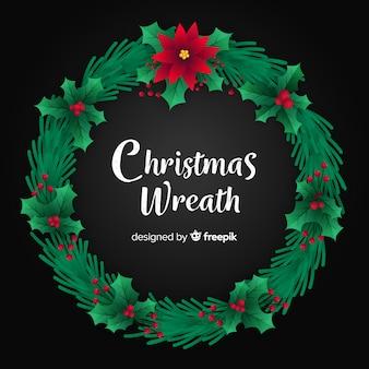 Kerst krans platte ontwerp achtergrond