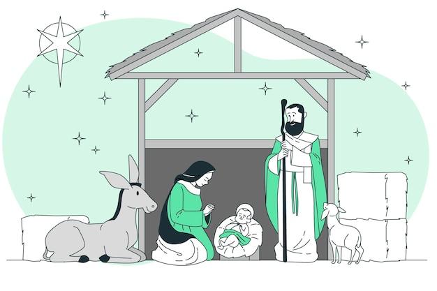 Kerst kribbe concept illustratie