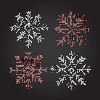 Kerst krijt sneeuwvlokken elementen