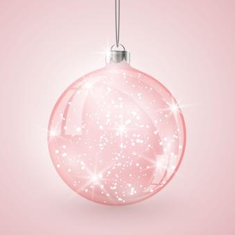 Kerst kristallen glazen bol op roze vector achtergrond.