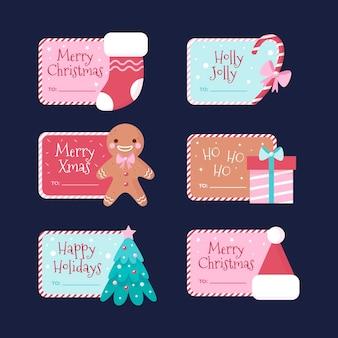 Kerst label collectie in plat design