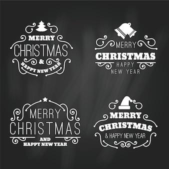 Kerst label collectie op blackboard