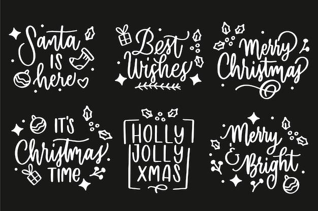 Kerst label collectie op bord