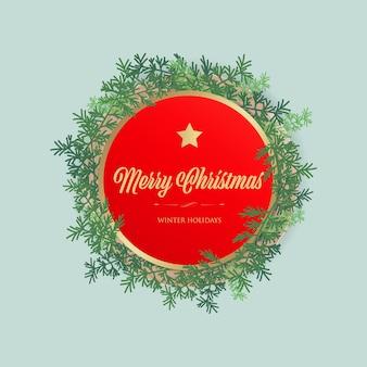 Kerst label en rode banner tag.
