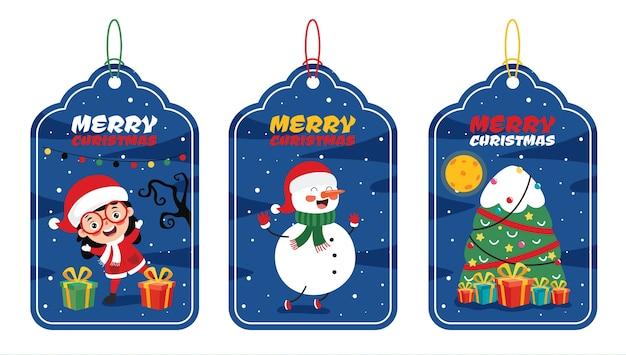 Kerst label ontwerp met stripfiguren