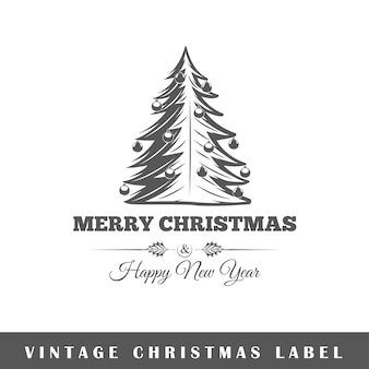 Kerst label op witte achtergrond. element. sjabloon voor logo, bewegwijzering, huisstijl. illustratie
