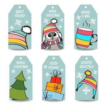 Kerst labels-collectie, geïsoleerde items