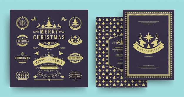Kerst labels en badges elementen instellen met wenskaartsjabloon.