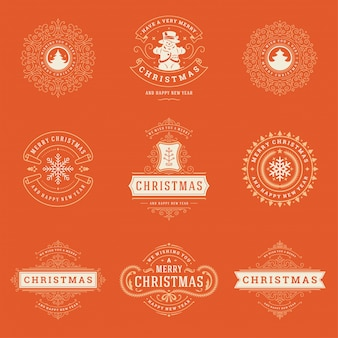 Kerst labels en badges elementen set