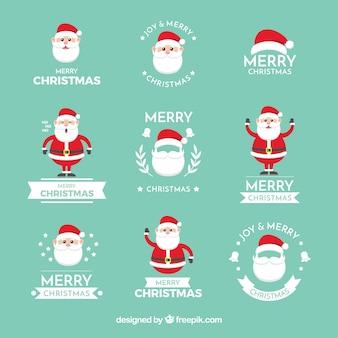 Kerst labels met leuke kerstman Gratis Vector