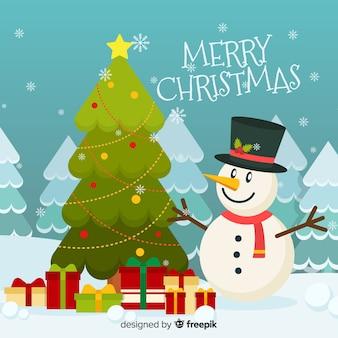 Kerst lachend sneeuwpop achtergrond