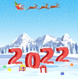 Kerst landschap achtergrond met sneeuw en boom. wenskaart. 3d-nummers. vrolijk kerstfeest. nieuwjaar en kerstviering. vectorillustratie in vlakke stijl.