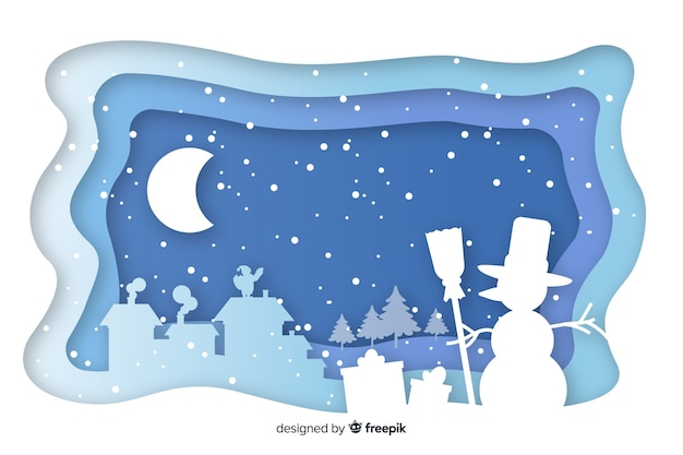 Kerst landschap in papier stijl