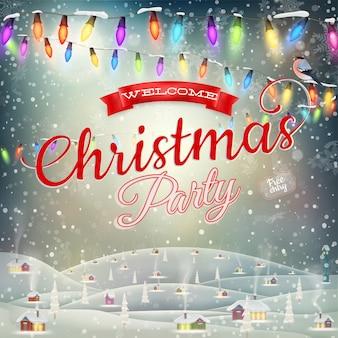 Kerst landschap poster.