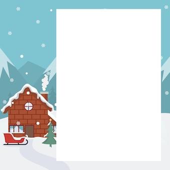 Kerst landschapskaart met huis