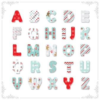 Kerst lettertype met verschillende patronen.