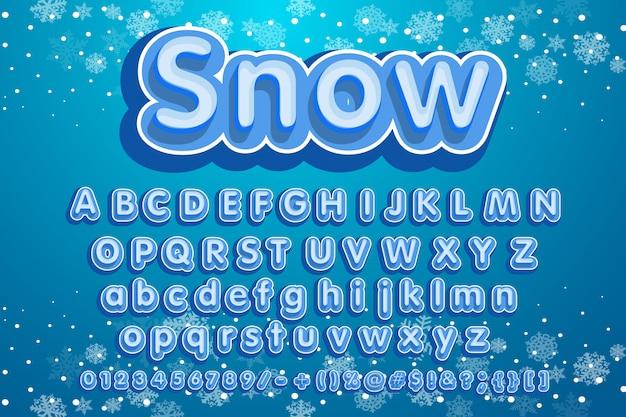 Kerst lettertype. sneeuwwitje leuke tekst winterstop.