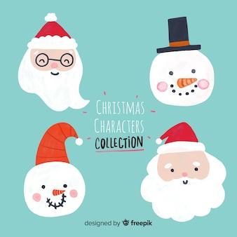 Kerst leuke kerstman en sneeuwman karakter gezichten collectie in platte ontwerp
