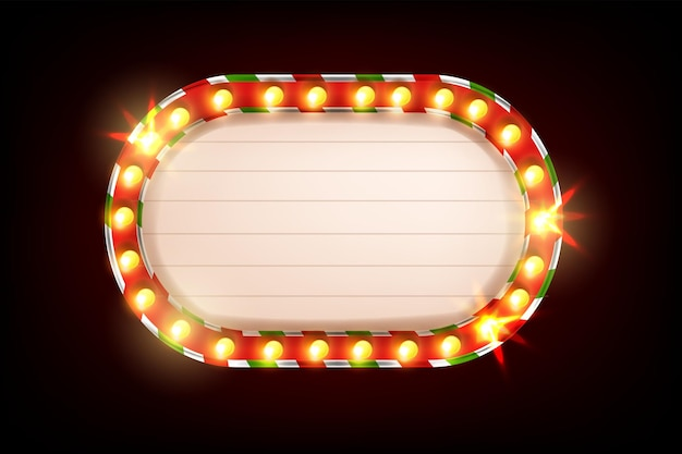 Kerst licht frame vector retro lamp teken banner vakantie vintage bioscoop show vegas billboard