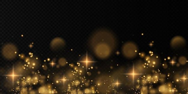 Kerst licht goud sprankelend stof met licht goud fonkelende sterren kerst glinsterende textuur