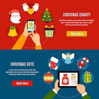 Kerst liefdadigheid en geschenken banners