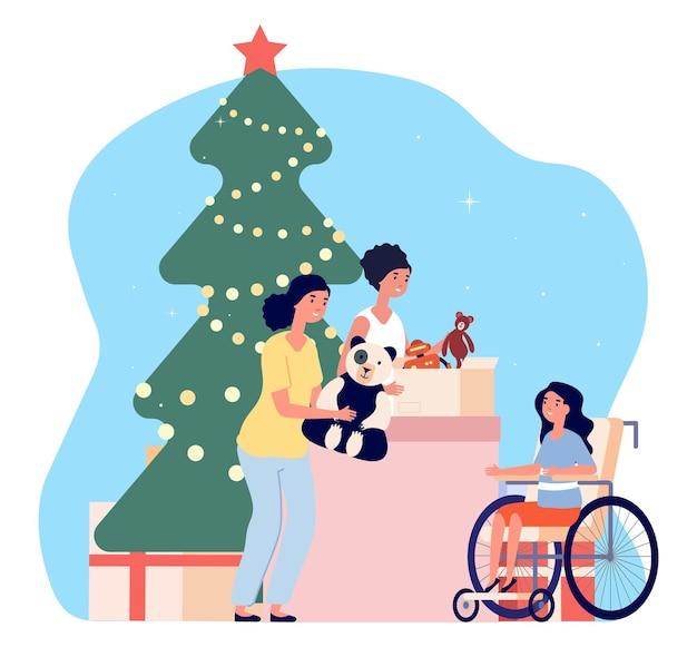 Kerst liefdadigheid. vrijwilligers geven speelgoed aan gehandicapt meisje. donaties, vakantie presenteert vector concept. vrijwilliger voor het goede doel van kerstmis, vrijwilligerswerk hulp illustratie