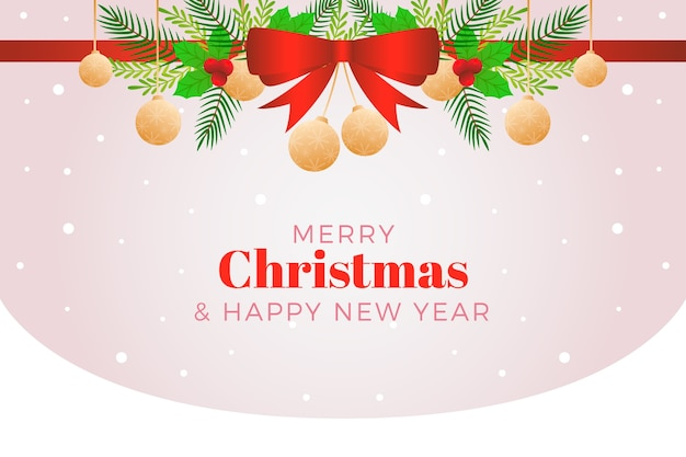 Kerst lint achtergrond en hangende kerstballen