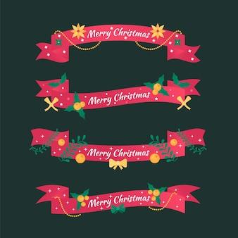 Kerst lint collectie in plat design