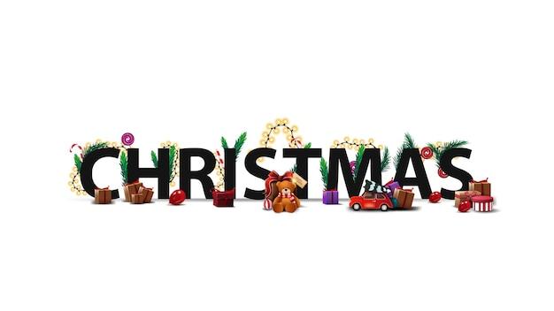 Kerst logo, teken, symbool. 3d-titel versierd met cadeautjes, kerstboomtakken, snoep en slinger geïsoleerd
