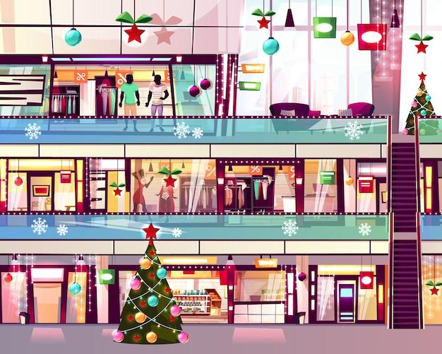 Kerst mall winkels illustratie van boetieks en kerstboom op roltrap trap.