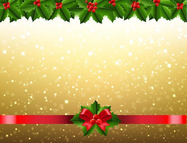 Kerst maretak en holly berry grens