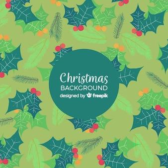 Kerst maretak pijnboom blad achtergrondpatroon