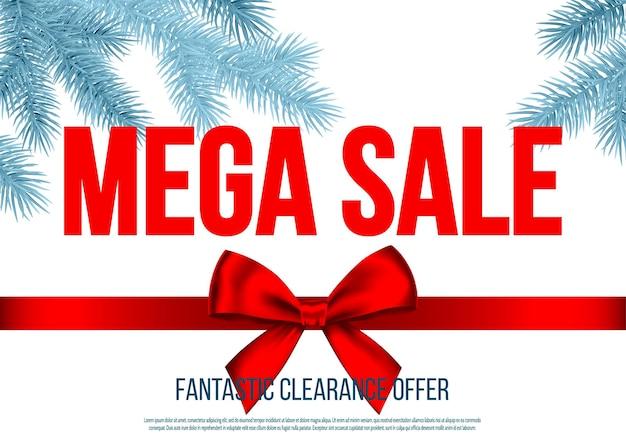 Kerst mega-uitverkoopbanner met rood geschenkstriklint en zilveren sparrentak