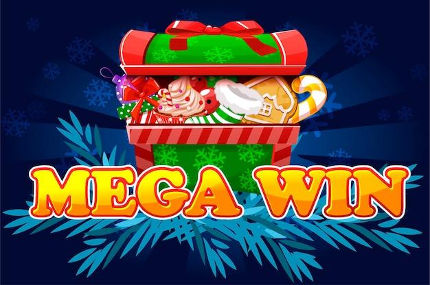 Kerst mega win. scherm voor 2d-game- en casinoslots.