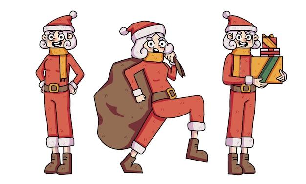 Kerst meisje santa schattig tekenset
